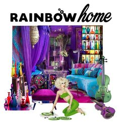 """""""Rainbow Home"""" by deborahparker ❤ liked on Polyvore featuring interior, interiors, interior design, home, home decor, interior decorating and rainbowhome"""