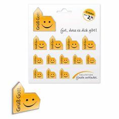 Lustige #Sticker mit dem Motiv einer lachendenden #Kirche und der Aufschrift Grüß #Gott  ...