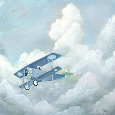 Plane Painting  Print 8x8  Airplane in the Sky with by ladypoppins, $20.00