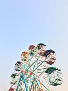 Colourful carnival rides. The sky is the limit
