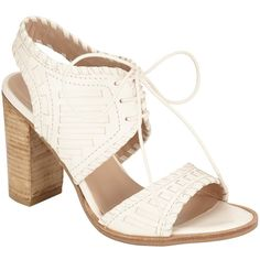 Collection WEEKEND by John Lewis Issigeac Block Heeled Sandals, Cream ($62) ❤ liked on Polyvore featuring shoes, sandals, braided leather sandals, lace up high heel sandals, lace up flat sandals, woven leather sandals and flat shoes