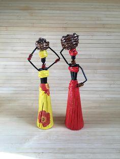 African Art Paper sculpture African figurine Paper statuette African statue African women Statue Africa lover gift Paper figurine