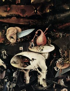 Hieronymus Bosch, c.1450-1516, Dutch, Triptych of Garden of Earthly Delights (detail), c.1500.  Oil on panel.  Museo del Prado, Madrid.  Early Netherlandish painting.