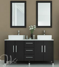 Bathroom. Best Bathroom Vanities In Various Design Styles. Modern Black Espresso And White Bathroom Vanity Set Come With Double White Porcelain Square Vessel Sinks And Sink Mounted Single Handle Chrome Faucets And White Solid Stone Vanity Countertop Along With Black Painted Wood Vanity Cabinet With Drawers As Well As Rectangle Black Wooden Frame Wall Mirrors