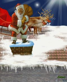 Santa going down chimney – Best Christmas Eve Christmas Scenes, Merry Christmas And Happy New Year, Christmas Pictures, Christmas Art, Christmas Greetings, Beautiful Christmas, Winter Christmas, Vintage Christmas, Gif Noel