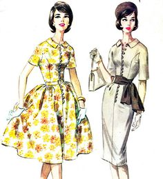 Dress Pattern McCalls 5720 Sheath or Full Skirt Princess Seam Shirtdress Plus Size Womens Vintage Sewing Pattern Bust 38 1960s Dresses, Day Dresses, Vintage Dresses, Vintage Outfits, Vintage Fashion, Over 60 Fashion, Vintage Dress Patterns, Vestidos Vintage, Fashion Tips For Women