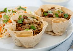 Tortilla Cups with Spicy Beef recipe - Easy Countdown Recipes Beef Recipes, Cooking Recipes, Healthy Recipes, Yummy Recipes, Healthy Food, Recipies, Healthy Eating, Kidspot Recipes, Delicious Desserts
