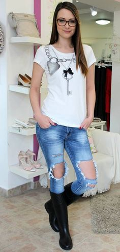 White shirt with key pattern Trouser Jeans, Trousers, Shirt Blouses, T Shirt, Pattern, Tops, Women, Fashion, Bebe