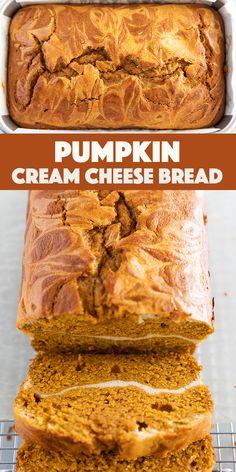 Fall Dessert Recipes, Fun Desserts, Holiday Recipes, Delicious Desserts, Autumn Desserts, Yummy Food, Pumpkin Cream Cheese Bread, Pumpkin Bread, Pumpkin Spice
