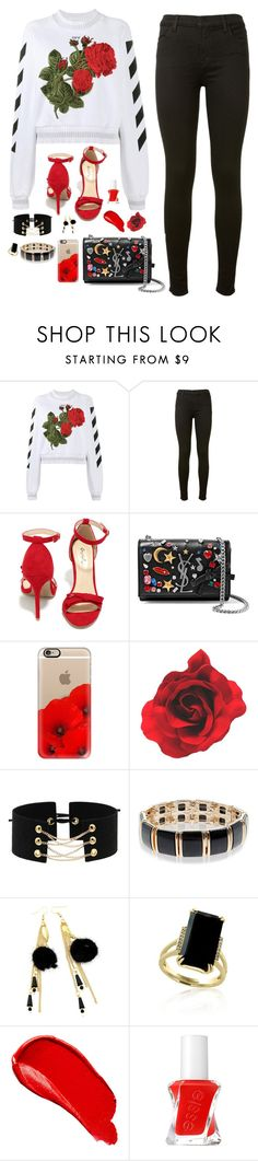 """""""Untitled #1112"""" by sophia-etr ❤ liked on Polyvore featuring Off-White, J Brand, Qupid, Yves Saint Laurent, Casetify, Accessorize, Effy Jewelry, Burberry and Essie"""