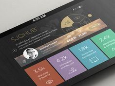 SJQHUB™ // Visual Data infographics UI design  Development of the UI design for my SJQHUB™ project. Developing the colour palette and iconset too.  http://www.behance.net/wip/146743  Full size imag...