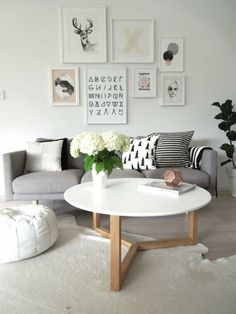 Grey & White living room | Apartment Living