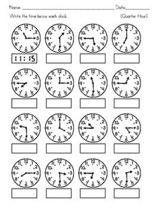 Clocks - Tell Time to the nearest Hour, Half Hour, Quarter Hour, and 5 minutes Clock Worksheets, 3rd Grade Math Worksheets, Math Workbook, School Worksheets, 1st Grade Math, Second Grade, Teaching Time, Math Notebooks, Preschool Math