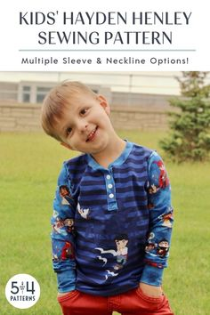 PDF sewing pattern for the Kids' Hayden Henley in sizes months to The versatility of this henley pattern makes it a smart buy. Boys Sewing Patterns, Clothing Patterns, Fall Sewing, Technical Drawing, Comfy Hoodies, Modern Outfits, Pattern Making, Printing On Fabric, Knitting
