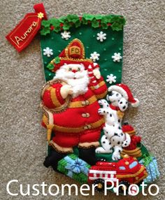 Fireman Santa Bucilla Christmas Stocking Kit