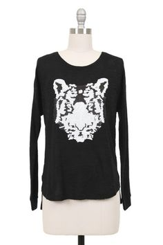 Black Long Sleeve Knit Sequin Tiger Face Top | Limelite Boutique