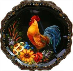 Rooster painting on plate . Rooster Painting, Rooster Art, Rooster Decor, Painted Trays, Hand Painted, Tole Painting Patterns, Wood Patterns, Russian Folk Art, Chicken Art
