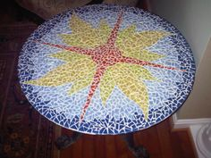 My creation: Glass tile mosaic on glass table top!