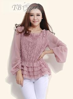 Attractive Pure Color Lace Large Size Chiffon Blouse