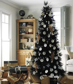Unique Christmas Tree Themes | black Christmas tree fits in perfectly! The garland, wreath and tree ...