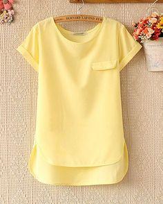 Spring and summer women's loose short-sleeved chiffon shirt