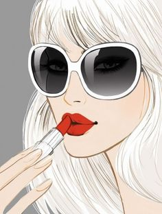 Applying Red Lipstick Pop Art ~ Jason Brooks art illustration