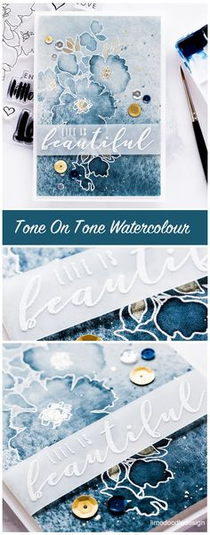 Watercoloured tone on tone card by Debby Hughes using the new August release from Altenew. Find out more here: http://limedoodledesign.com/2017/08/altenew-august-2017-release-blog-hop-day-2-giveaway/