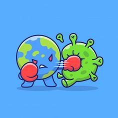 World Fight Corona Virus Icon Illustration. World Icon Concept Isolated Cartoon Pics, Cartoon Styles, Cartoon Characters, Art Drawings Sketches Simple, Easy Drawings, Corona Logo, Globe Drawing, World Icon, Globe Icon