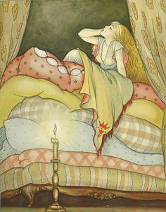 Brünhild Schlötter Princess and the Pea (Hans Christian Andersen) Hans Christian, Princess And The Pea, Grimm Fairy Tales, Ludwig, Fairytale Art, Children's Book Illustration, Book Illustrations, Book Art, Fantasy Art
