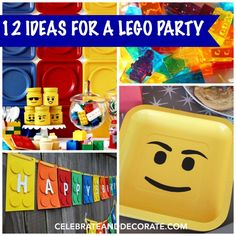 12 Fun Ideas for a Lego Party - Celebrate & Decorate Lego Party Favors, Lego Birthday Party, 9th Birthday, Birthday Parties, Birthday Ideas, Lego Banner, Lego Head, Lego Gifts, Fun Ideas