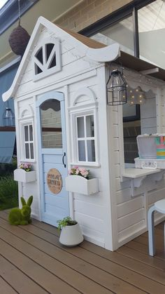 Pin By Vintage Charm On Playroom In 2019 Kids Cubby Houses Cubby Backyard Playhouse, Build A Playhouse, Backyard Playground, Backyard For Kids, Playhouse Decor, Playhouse Ideas, Kids Cubby Houses, Kids Cubbies, Play Houses