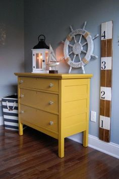 Love this look but paint the dresser green or navy to match his bedding