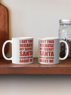 Buy 'I got this because my secret santa knows nothing about me' by as a Mug or Travel Mug Handmade Christmas Gifts, Christmas Diy, Decorated Liquor Bottles, Altered Cigar Boxes, Diy Food Gifts, Friend Birthday Gifts, Neighbor Gifts, Candy Gifts, Secret Santa