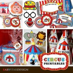 """♥ These are super fun CIRCUS THEMED PRINTABLES!! Simply print, cut and party! ♥ Included In Kit : 2"""" party circles 2"""" blank party circles (editable pdf) 3"""" party circles Cupcake wrappers Double sided [...]"""