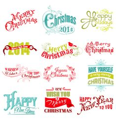 Set christmas calligraphic design elements vector - by woodhouse84 on VectorStock®