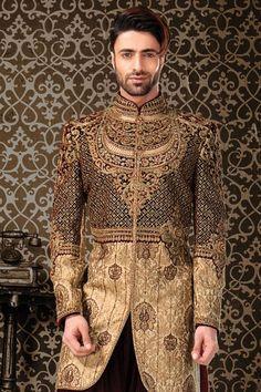 Gold Brocade Zari Woven IndoWestern Sherwani-IW749 Arab Men Fashion, Ethnic Fashion, Mens Fashion, Fashion Outfits, Sherwani Groom, Wedding Sherwani, Pakistani Bridal Couture, Sunny Dress, Indian Groom Wear