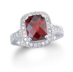 Garnet Ring! Pretty! Thinking of something like this to reset my great-great grandmother's ring