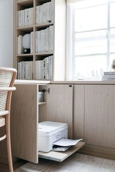 California Closets Built-In Bookshelves: Our Home Office Design – Anne Sage Office Cabinet Design, Home Office Cabinets, Office Interior Design, Office Interiors, Office Walls, Bedroom Office, Printer Storage, Printer Cabinet, California Closets