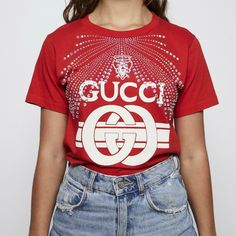 Circle Fashion, Designer Resale, Women Sleeve, Red Accents, Printed Tees, Types Of Sleeves, Gucci, Printed Shirts