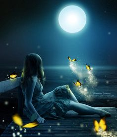 Magical moonlight with fairies Beautiful Moon, Beautiful World, Fantasy World, Fantasy Art, Moon Magic, Moon Art, Conte, Stars And Moon, Full Moon