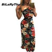 Fashion Summer Style Women's Floral Print Sexy Bohemian Maxi Dress Spaghetti Strap Long Casual Sleeveless Dresses