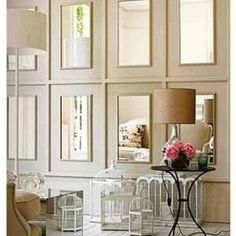 Trim & cut mirror can turn your space into a dramatic moment!!  Keep in mind you could plagiarize this in a dining room or a powder bath even!!