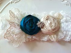 Vintage Inspired Garter in Lace and Silk with Teal and Ivory Rosettes with Rhinestones
