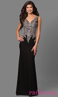 Lace-Embellished Black Evening Dress by Elizabeth K