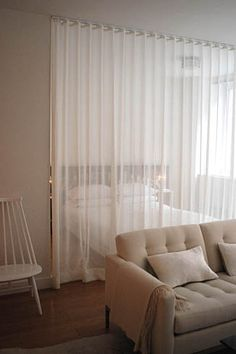 Strongly considering sheer curtains as dividers in the new space - without blocking the light flow.