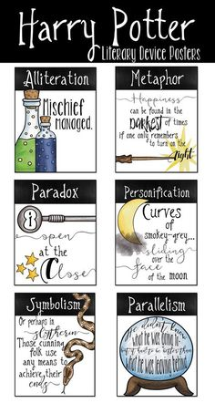 Harry Potter literary device poster set for Harry Potter classroom decor and Harry Potter novel study