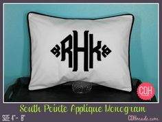 South Pointe Large Applique Monogrammed Pillow Cover  14 by calicodaisy, $64.00 #bedroom #wedding #boys