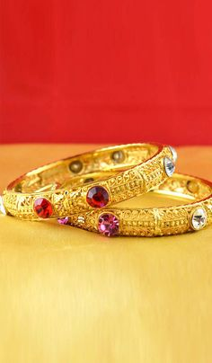#Bangles, #Bracelets & #Kadas - Gold Finish Bangles With Stone Work Costs Rs. 600. #Jewellery. BUY it here: http://www.artisangilt.com/gold-finish-bangles-with-stone-work-55547.html?ref=pin