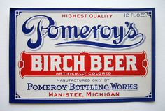 Pomeroy's Birch Beer - vintage soda label