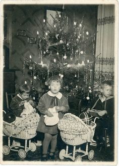 Vintage Christmas Photo ~ Children by the Tree with their Toys on Christmas Morning.